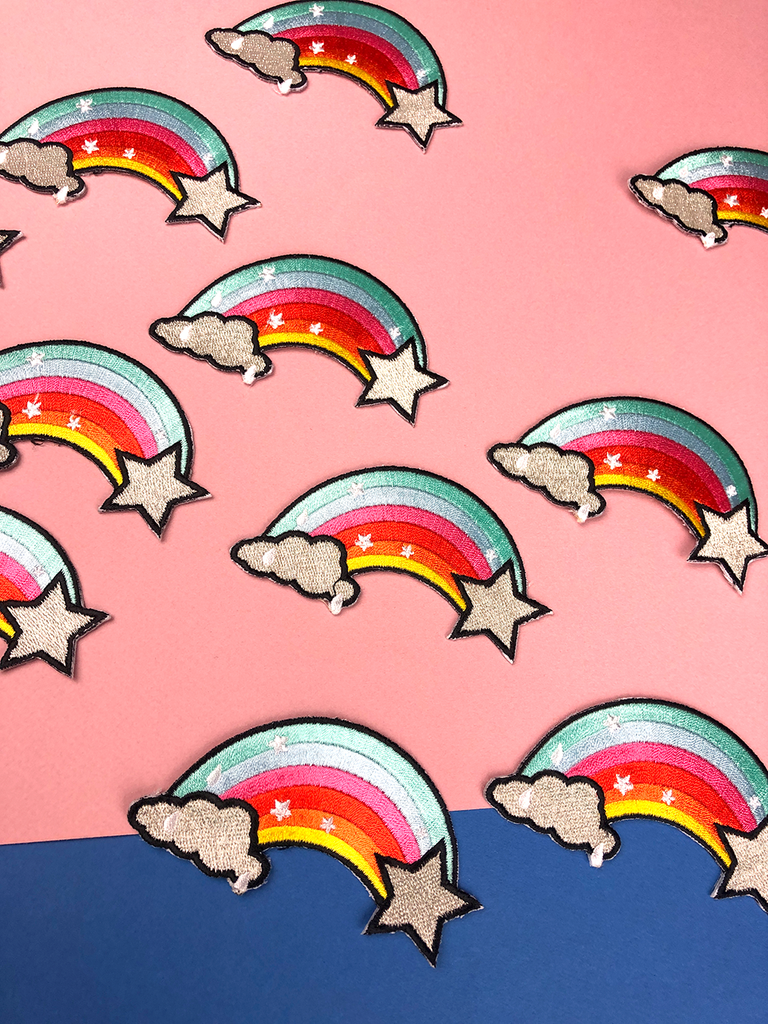 Rainbow iron-on patches by playful brand Doodlemoo