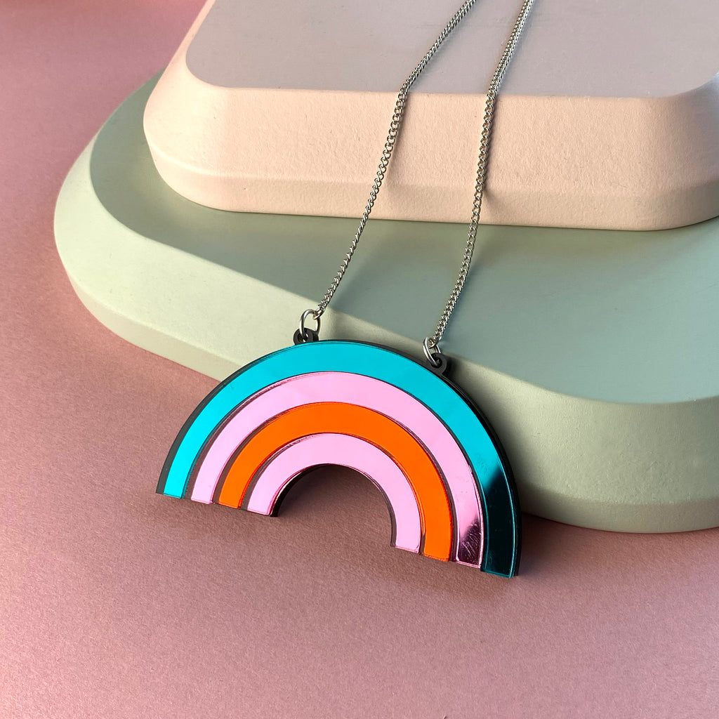 Rainbow Acrylic mirror Necklace
