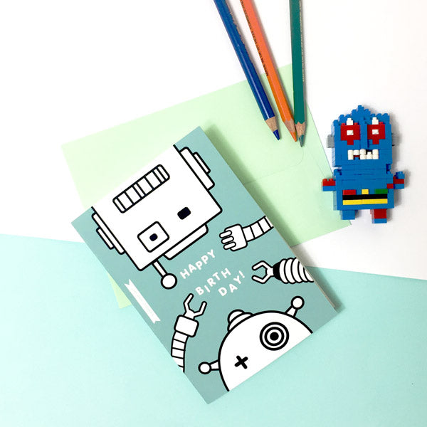 Happy Birthday Robots colouring in card Doodlemoo