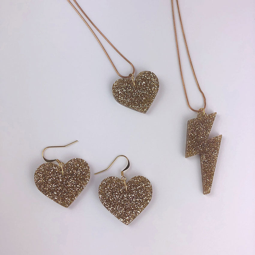 LOVE ROCKS Acrylic Jewellery; Glitter Gold