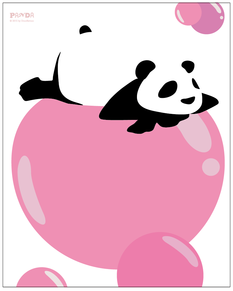 Panda on a bubble print/poster