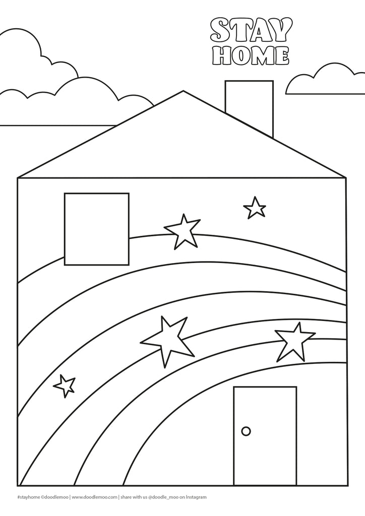 Stay Home Rainbow house Colouring in sheet