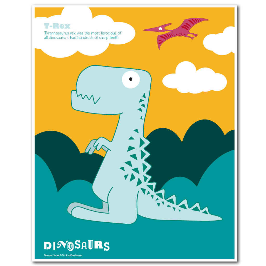 T-rex from T-rex and friends print