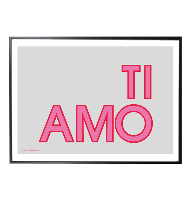 TI AMO print in grey and pink