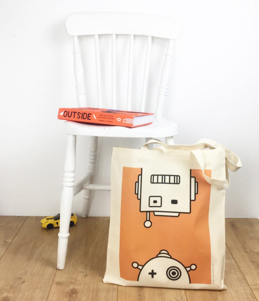 Tote bag with Robots print Blip Blip
