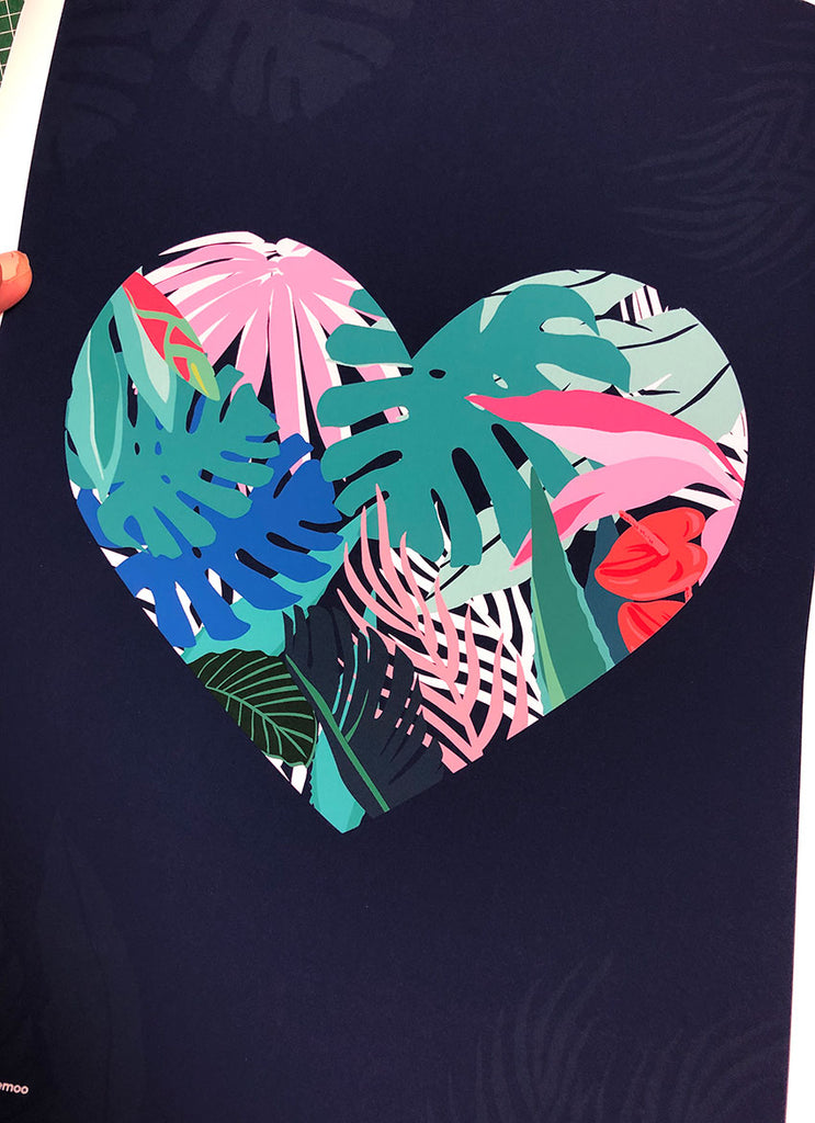 TROPICAL LOVE; heart print/poster