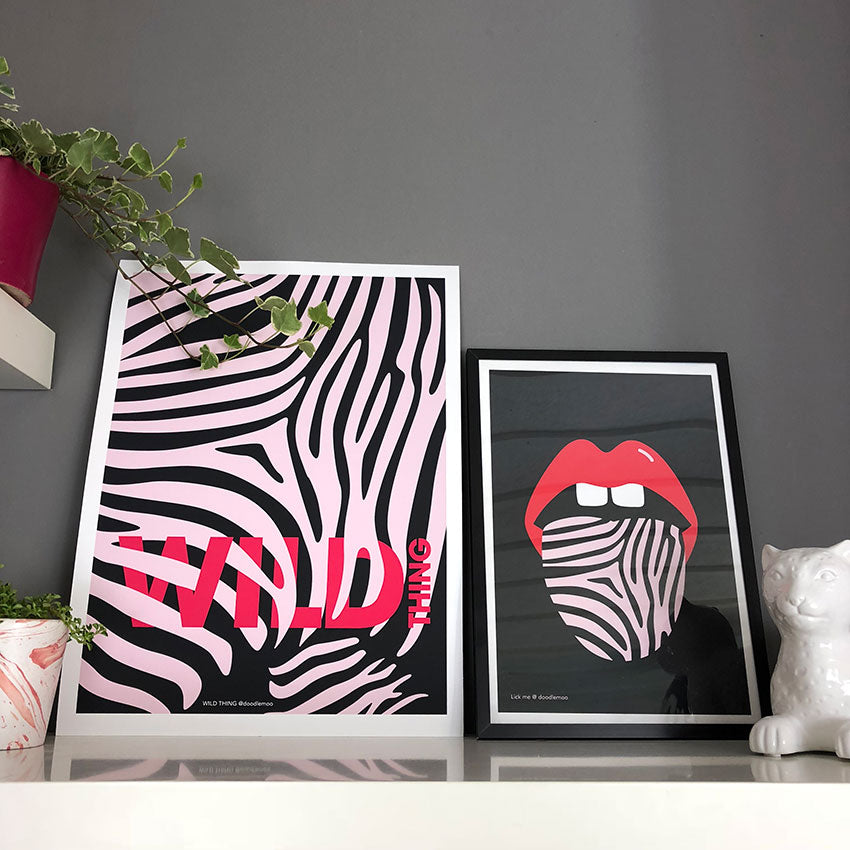 WILD-THING-&-KISS-ME-WILD. Two Doodlemoo zebra inspired art prints