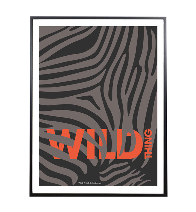 WILD THING ZEBRA PRINT ORANGE TYPOGRAPHY