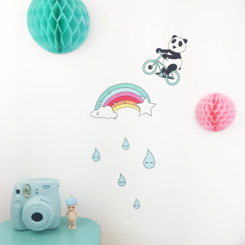 A SET OF A RAINBOW, A PANDA AND SLEEPY RAINDROPS WALL DECALS FROM PLAYFUL BRAND DOODLEMOO