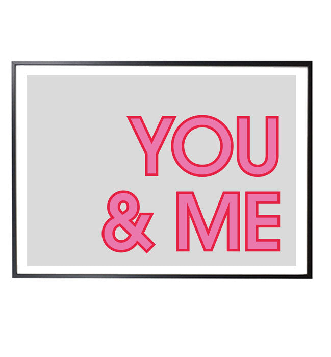 YOU&ME typographic print designed by playful brand Doodlemoo