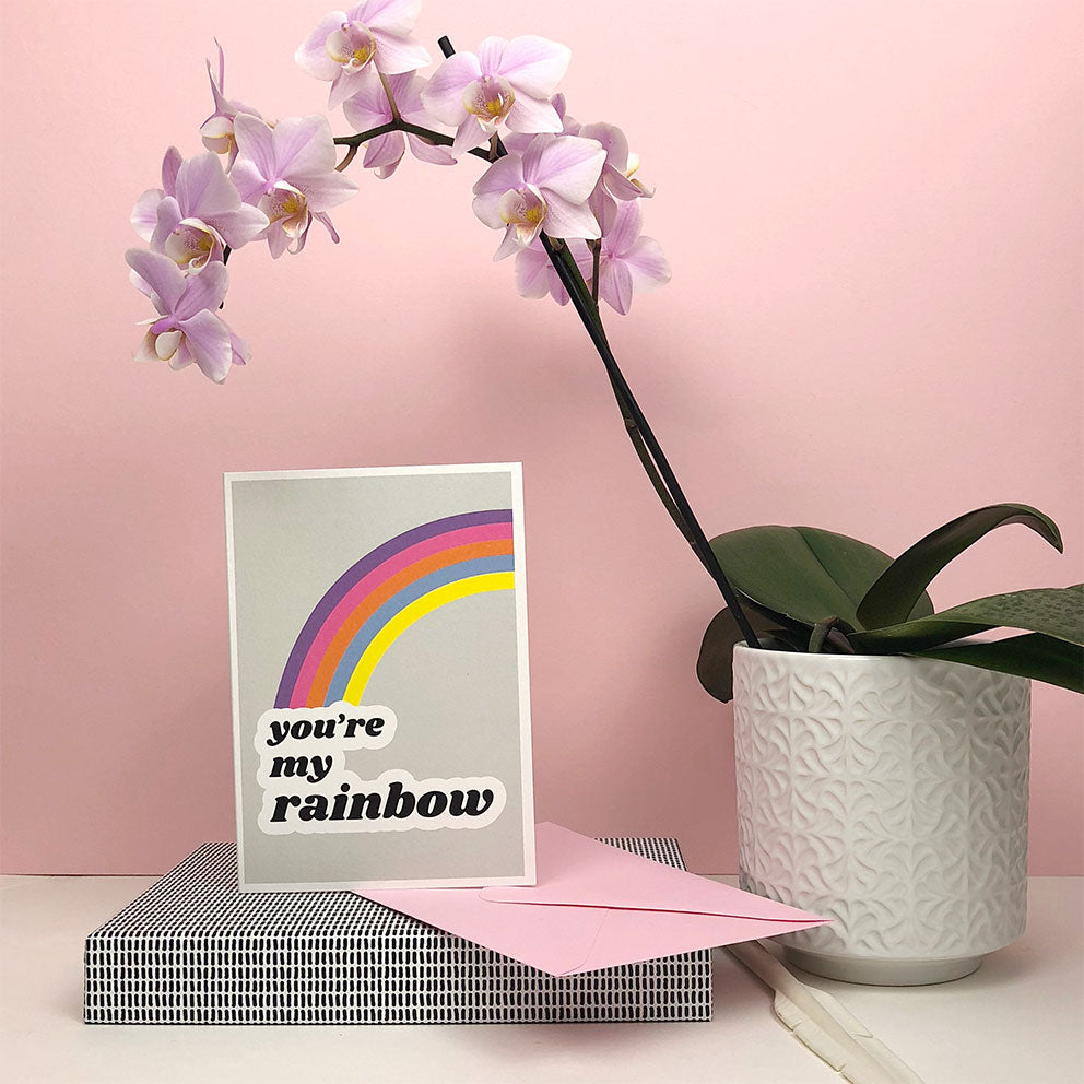 You're my rainbow greetings card by playful brand Doodlemoo.