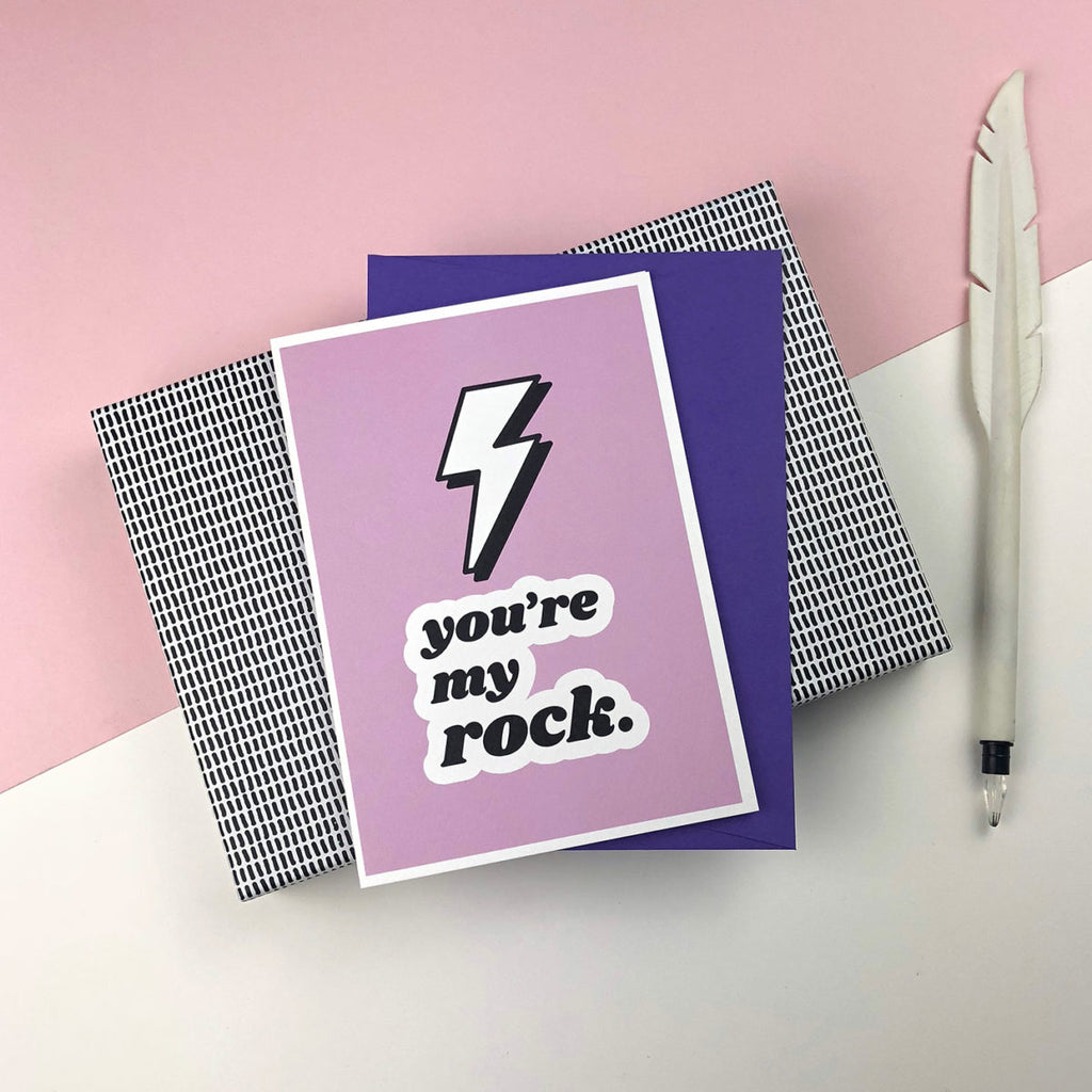 You're my Rock! greetings card by playful brand Doodlemoo