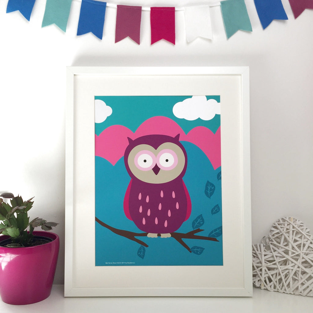 Oscar Owl, pink and blue Print
