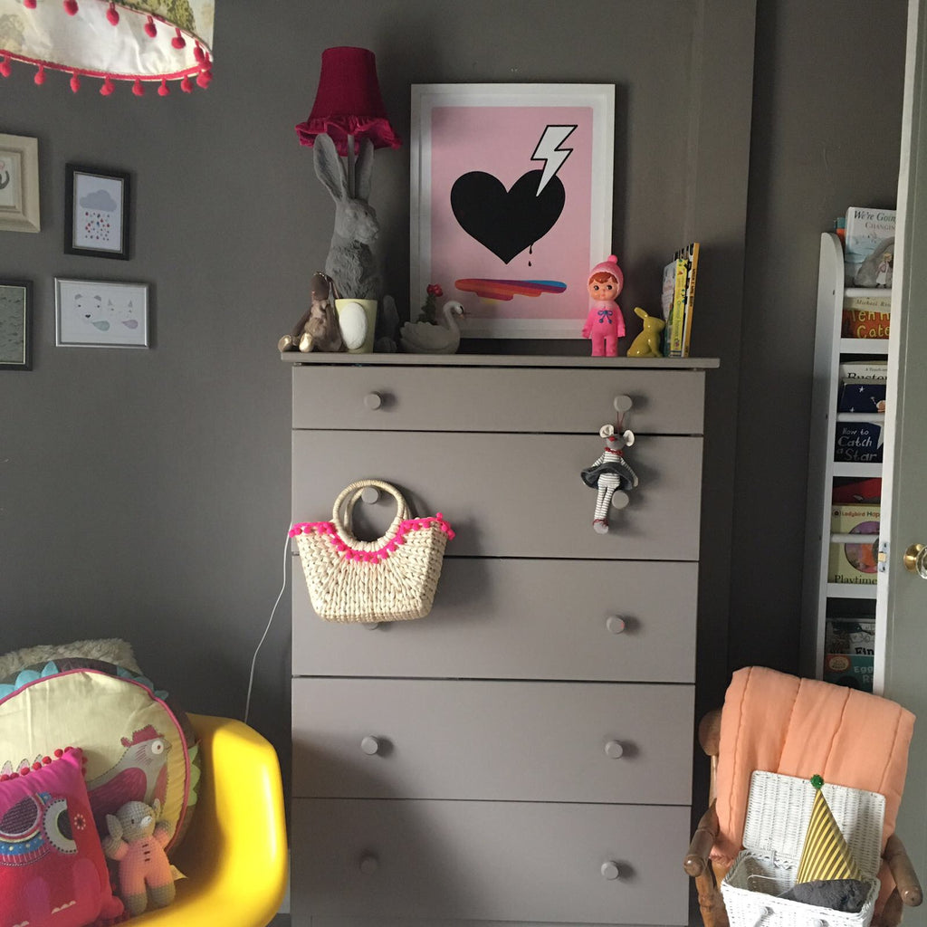 Heart print Love struck in a girls room