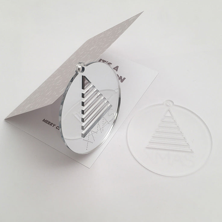 Xmas Bauble with card; mirror & iced white