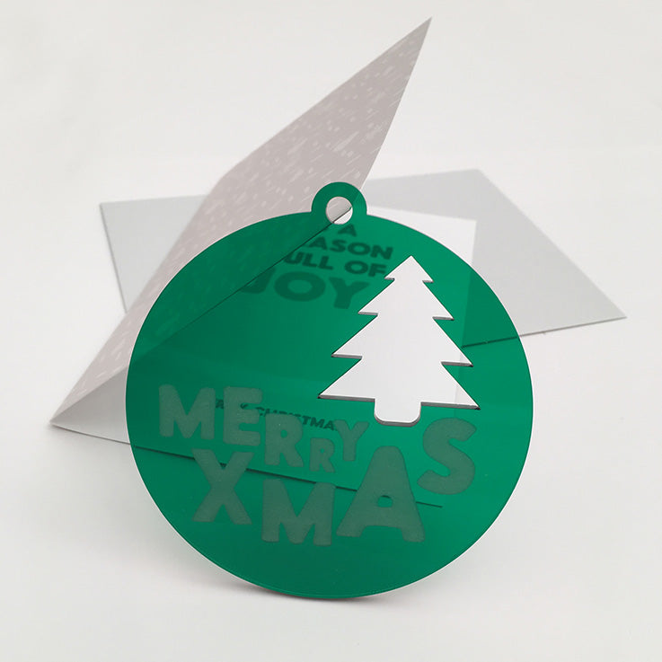 Merry xmas tree acrylic bauble