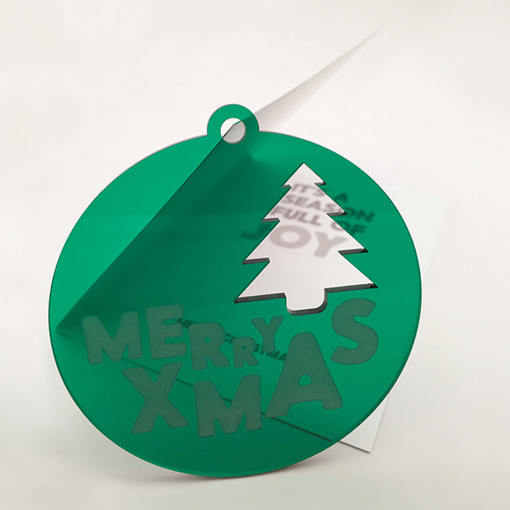 MERRY XMAS TREE Acrylic Bauble with card; green