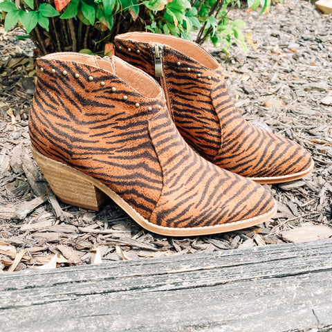 Count Me In Tiger Studded Booties