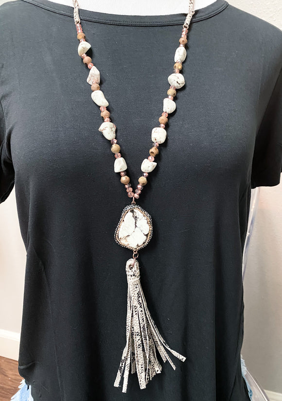 Rock The Look Snakeskin Tassel Necklace | White