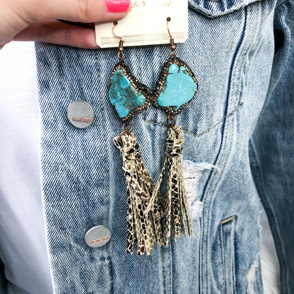 Rock The Look Snakeskin Tassel Earrings | Turquoise