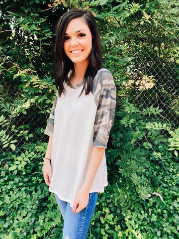 How It Goes Camo Print Contrast Top