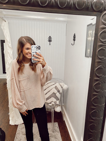 Long Sleeve Bubble Waffle Knit Top | Taupe