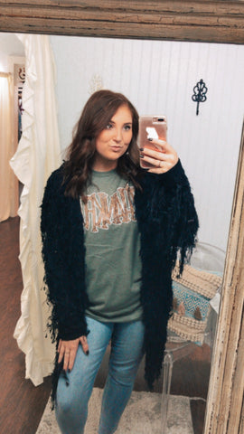 Forever Fringed Black Cardigan