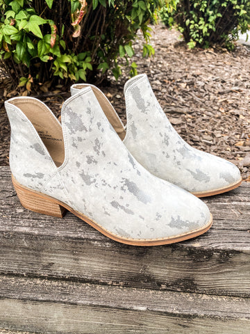 Wayland White Metallic Booties | Boutique by Corkys