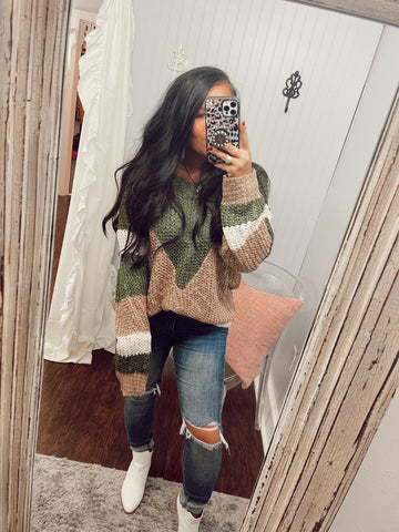 Olive Color Block Knitted Sweater