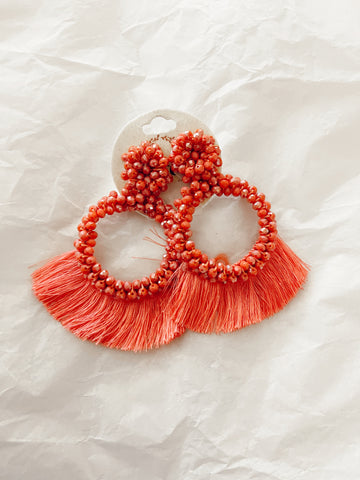 Tangled Up Coral Fringe Earrings
