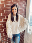 Cream Fringe Sweater Top
