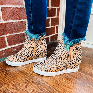 Cheetah Tassle Sneaker Wedge
