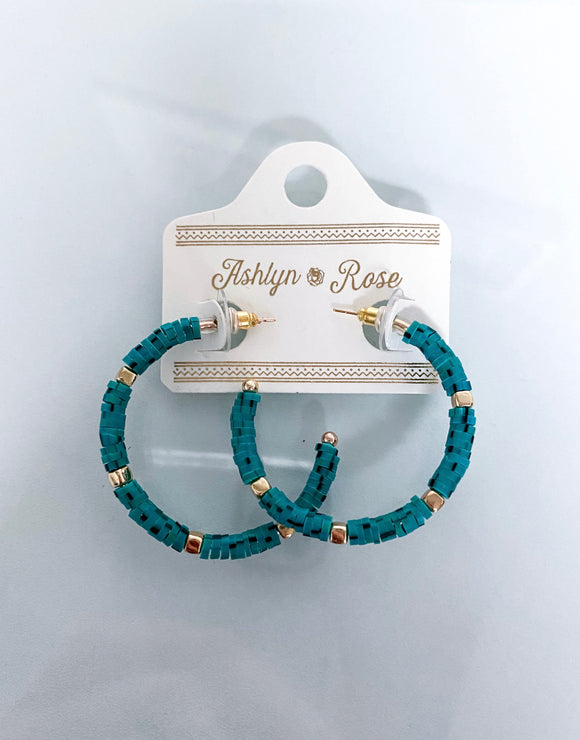 All Summer Long Beaded Hoops | Turquoise