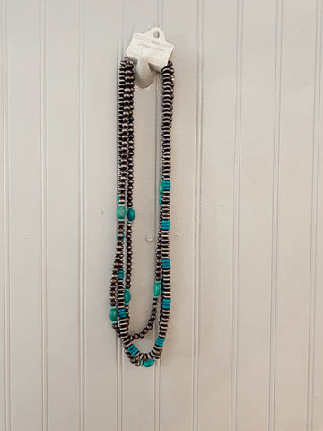 Multilayered Chunky Turquoise Stone Necklace