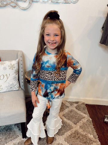 Blue Coral Leopard Sequin Tie Dye Top | Kids