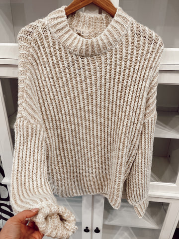 Two Toned Beige Knit Sweater
