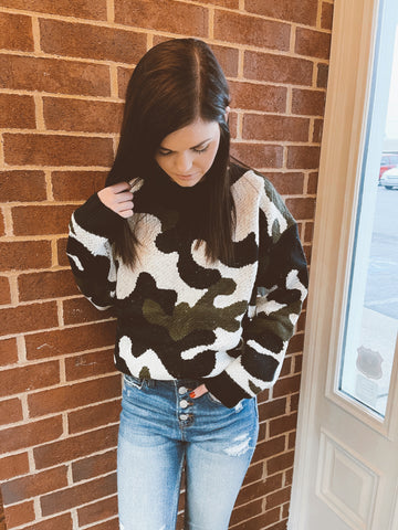 Black Camo Wool Sweater