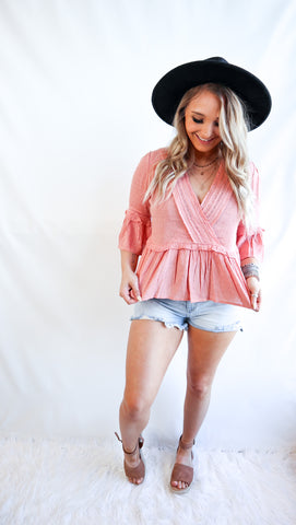 Worth More Than Diamonds Blush Lace Bell Sleeve Top