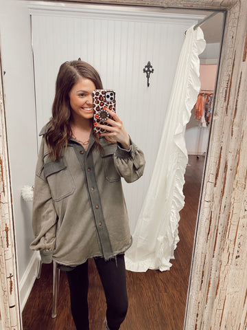 Olive French Terry  Oversized Jacket