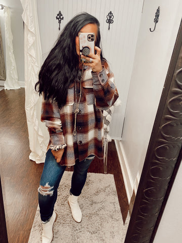 Talk About It Woven Flannel Plaid Jacket