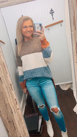 Can't Deny You Color Block Sweater