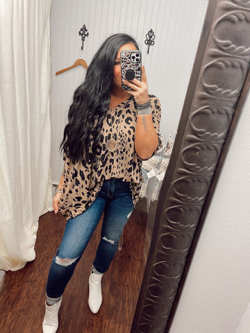 The Story Goes Leopard Taupe Top