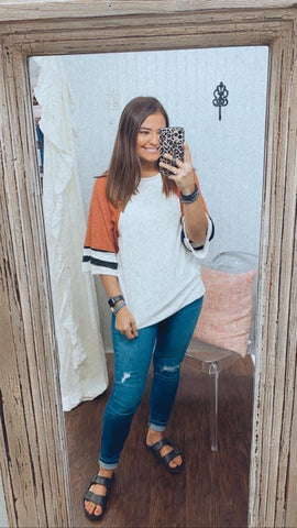 Rust Cut Edge Color Block Top