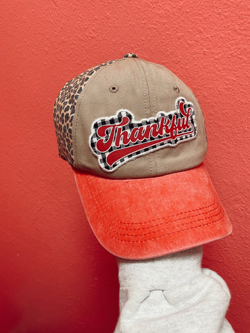 White Plaid Thankful Patch On Leopard Hat