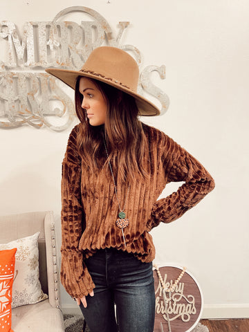 Brown Faux Fur Oversized Mock Neck Top