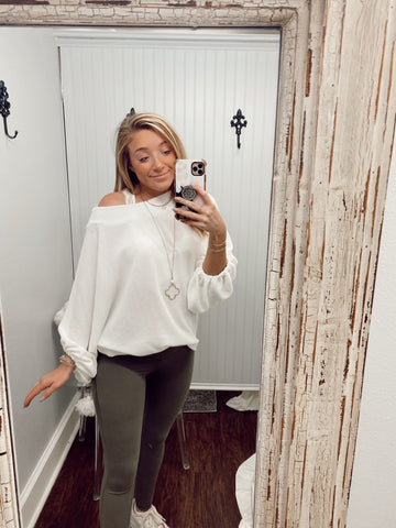 Textured Dolman Over-Sized Top | White