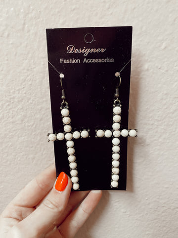 Cross Tortoise Beaded Earrings
