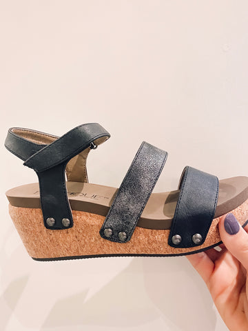 Cona Black Strappy Wedges