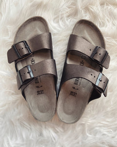 Arizona BS Washed Metallic Birkenstocks | Antique Black