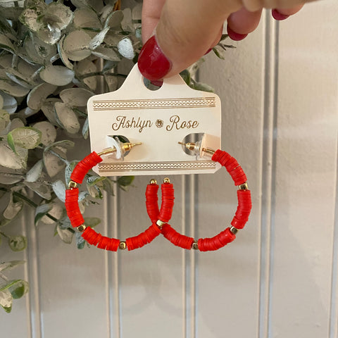 All Year Long Red Beaded Hoop Earrings